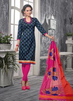 Charming Lace Work Bhagalpuri Silk Churidar Designer Suit