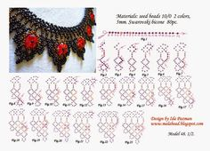 Beadwork step by step.MalaBead: Model 1 of Pin was discovered by Liz Free Beading Tutorials, Beading Patterns Free, Beading Projects, Diy Necklace Patterns, Beaded Jewelry Patterns, Necklace Tutorial, Beaded Ornaments, Seed Bead Jewelry, Beaded Flowers