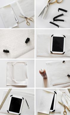 DIY Leather iPad Case Tutorial - make your own custom tablet folio;i've been meaning to update my ipad case forever… and on a whim a few months ago, i bought a yard of this soft white faux leather. Diy Leather Ipad Case, Capas Kindle, Apple Watch Iphone, Kindle Case, Tablet Cover, Leather Cover, Craft Projects, Sewing Projects, Creations