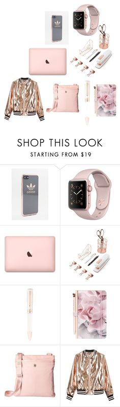 """""""Rose gold lovers"""" by moonlightbae1993 ❤ liked on Polyvore featuring interior, interiors, interior design, home, home decor, interior decorating, adidas, U Brands, Montegrappa and Ted Baker"""