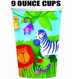 Jungle Animals 9oz Birthday Party Cups
