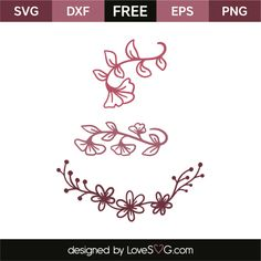 *** FREE SVG CUT FILE for Cricut, Silhouette and more *** Floral elements