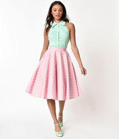 dbf101994b0c UNIQUE VINTAGE Vintage Style Pink & White Polka Dot Cotton Circle Skirt – Unique  Vintage Circle