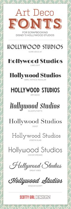 Fonts for Scrapbooking Hollywood Studios at scottygirldesign.com #Disney