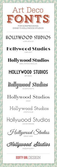 Fonts for Scrapbooking Disney's Hollywood Studios at scottygirldesign.com