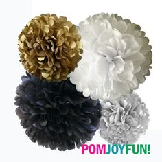 Holiday Tissue Paper Pom Poms 4 Piece Set - Weddings - Bridal Shower - Decorations - - Party Decorations | Black White Gold Silver by PomJoyFun on Etsy