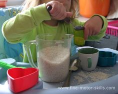 The rice and rye play may lead to some mess, but your child should not feel under pressure to keep clean. It is better to encourage children to limit the mess than limit the child.