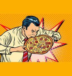 Man bites pizza vector Free Vector Images, Vector Free, Pizza Vector, Desenho Pop Art, Brunette Woman, Royalty, Artist, Poster, Royals