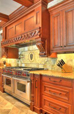 cherry wood :: custom hood #kitchens #cabinets #hoodfan