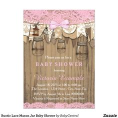 Shop Rustic Lace Mason Jar Baby Shower Invitation created by BabyCentral. Baby Shower Vintage, Baby Shower Fun, Baby Shower Cards, Baby Shower Invites For Girl, Fun Baby, Girl Shower, Baby Boy, Burlap Mason Jars, Custom Baby Shower Invitations