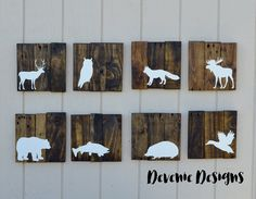 "Woodland Animals Reclaimed Wood 10x10"" Set - Woodland Nursery Decor - Grizzly bear, moose, duck, deer, fox, owl, rabbit"