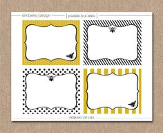 """PRINTABLE FOOD LABELS - Mom to """"Bee"""" Baby Shower Theme - Baby Shower Kit. $6.00, via Etsy."""