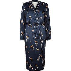 Blue giraffe print satin dressing gown - pyjamas / loungewear - Lingerie & Nightwear - women
