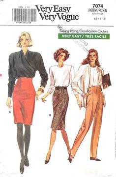 VOGUE 7074 - FROM 1987 - UNCUT - MISSES SKIRT & PANTS