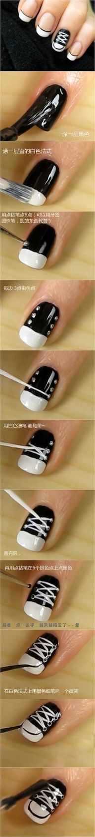 Converse nails...cute, I did solid nails & one converse nail & have gotten lite of compliments on how cute