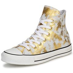 Hi top trainers Converse All Star - Gold and White leather Converse All Star, Converse Chuck Taylor All Star, Converse Shoes, White Converse, Shoes Sandals, Ugly Shoes, Sock Shoes, Cute Shoes, Me Too Shoes