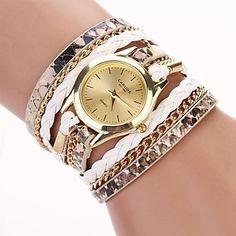 Mulheres Assista Quartz Relógio de Moda Leopardo PU Banda pulseira Preta / Branco / Azul / Vermelho / Rosa de 2121246 2016 por R$19,01
