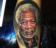 Morgan Freeman Tattoo Portrait by Ben Kaye Great Tattoos, Beautiful Tattoos, Body Art Tattoos, Portrait Tattoos, Tatoos, Awesome Tattoos, Hyper Realistic Tattoo, Famous Portraits, Fusion Ink