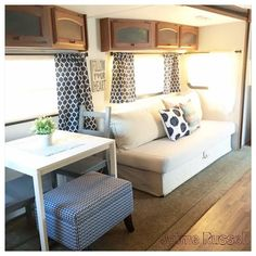 Inspiration Photo of Camper Remodel With IKEA Furniture. What started as an enjoyable, camper makeover undertaking, quickly become a time-sucking camper rebuild project. I just can't wait to get to delight i. Camper Interior Design, Campervan Interior, Rv Interior, Interior Ideas, Interior Paint, Modern Interior, Camper Beds, Diy Camper, Rv Campers