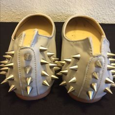 Punk rock studded Flats Light grey color. Badass metal spikes. Friggin adorable. Some light scuffs ( pictured) light damage reflects price :) 59 Seconds  Shoes Flats & Loafers