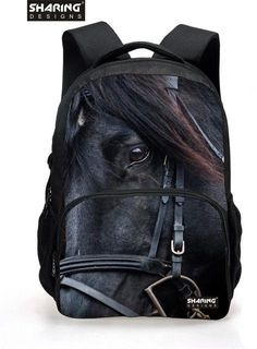 Big Size Animal 600D/PU Backpack Men's 3D horse Printing school bags for School Boys Casual College Student Laptop Backpack