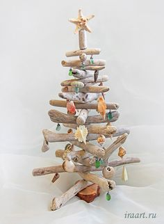 Driftwood Christmas tree with seashell ornaments.
