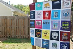 T-shirt quilt. Made using Fusi-Knit Interfacing, which the quilter much preferred to iron-on interfacings she's used in the past. Phi Mu Crafts, Diy Crafts, Leis, Old Baby Clothes, Owl, College T Shirts, Kappa Kappa Gamma, Shirt Quilt, Crafty Craft
