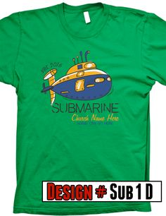 Submerged VBS t-shirts. We offer FREE shipping on all VBS orders. All shirts are designed to be customized for your VBS program- choose shirt color,