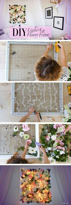 A light-up flower frame is a great DIY dorm room decor idea! A light-up flower frame is a great DIY dorm room decor idea! A light-up flower frame is a great DIY dorm room decor idea! Cheap Bedroom Decor, Cheap Home Decor, Room Decor Diy For Teens, Floral Bedroom Decor, Diy Room Decor For Girls, Easy Diy Room Decor, Playroom Decor, Nursery Decor, Cool Diy Projects