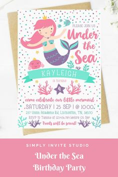 This Under the Sea Birthday Invite is perfect for a little girls' birthday party. This easy to edit birthday party invitation will be a great addition to your little one's Under the Sea Birthday Party Theme. Pink Birthday, Mermaid Birthday, Birthday Party Themes, Diy Invitations, Invite, Dinosaur Birthday Invitations, Birthday Template, The Little Mermaid, Sea