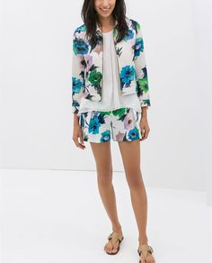 Image 1 of PRINTED BLAZER WITH FAUX LEATHER PIPING from Zara