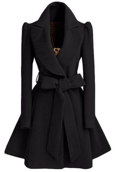 Noble Turn-Down Collar Long Sleeve Pure Color Self Tie Belt Coat Dress For Women