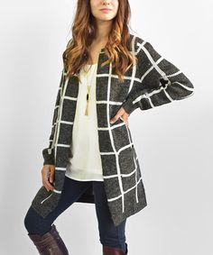 Look at this éloges Black Windowpane Open Cardigan on #zulily today!