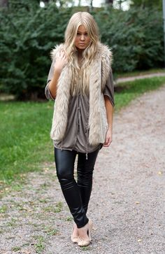 fashion - streetstyle - leather leggings and fur vest