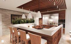 Duża otwarta kuchnia jednorzędowa w aneksie z wyspą, styl rustykalny - zdjęcie od Agata Hann Architektura Wnętrz