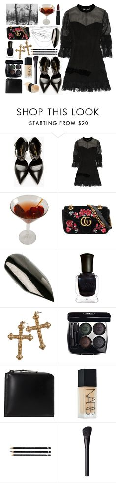 """Sin título #1344"" by meelstyle ❤ liked on Polyvore featuring Yves Saint Laurent, One Vintage, Gucci, NARS Cosmetics, H+H, Deborah Lippmann, Rock 'N Rose, Chanel and Comme des Garçons"