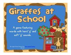 Giraffes at School - A FREEBIE Hard G and Soft G Game
