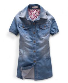 Short Sleeves Washed Denim Blouse with Floral Print Lining