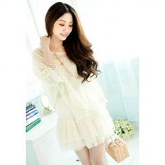 Women's Lace+Cotton Twinset With Openwork Fringe Hem Blouse and Layered Braces Skirt Design