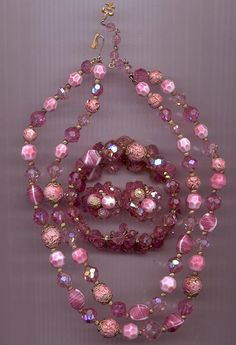 vintage vendome hot pink jewelry   Awesome vintage Vendome parure - necklace, bracelet, and earrings in ...