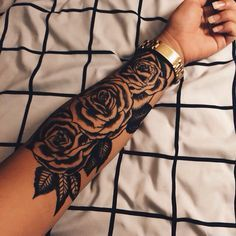 Large Rose Tattoo On The Forearm