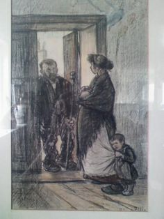 This picture was given to me by Erica Witt. She came to America as a child from Austria and escaped the concentration camps. Her sister bought this painting for her at a gallery in New York and sent it to Erica as a Hanukkah gift. When I opened the frame of the painting I found the card from her sister. I believe the man in the door way is Mr. Heinrich Zille himself.