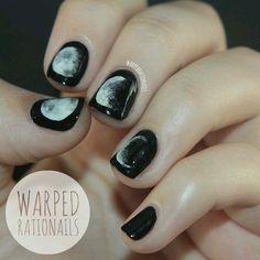Nails, black nail art, black and white nail designs, black nails, Black Nails, White Nails, Gorgeous Nails, Pretty Nails, Black And White Nail Designs, Black White, Black Moon, White Gold, Nail Art Vernis