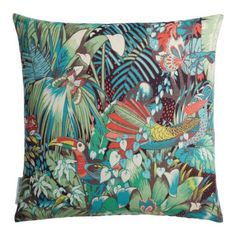 Matthew Williamson Samana Jungle Beat Cushion - Next Day Delivery, Matthew Williamson, Tropical Home Decor, Green Home Decor, Scatter Cushions, Throw Pillows, Accent Pillows, Wildlife Home Decor, Botanical Interior, Deco Jungle