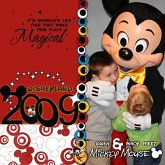 Disney Mickey and Friends Scrapbook Layout Page Idea