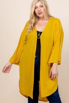 Made In U.S.A 1XL.2XL.3XL Plus Size Solid Hacci Brush Open Front Long Cardigan with Bell Sleeves 74% Rayon 22% Polyester 4% Spandex Mustard EME Plus Size Solid Hacci Brush Open Front Long Cardigan With Bell Sleeves Plus Size Cardigans, Plus Size Tops, Open Front Cardigan, Long Cardigan, Cardigan Sweaters, Cardigan Fashion, Plus Size Outfits, Plus Size Fashion, Bell Sleeves
