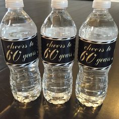 Cheers to 60 Years Birthday Water Bottle Labels by CakesAndCastles 90th Birthday Parties, 60th Birthday Party, 60th Birthday Ideas For Dad, Birthday Celebration, Birthday Gifts, 60th Anniversary, Anniversary Parties, Milestone Birthdays, Just In Case