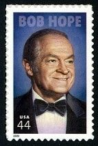 USPS  2009 -  USPS  paid tribute to the American comedian and actor Bob Hope (1903-2003) with the release of this  stamp on May 29, 2009 (he was born on May 29). Although not officially a part of the USPS Hollywood Legends stamp series, the stamp format is similar. Bob was truely a legend- not just for his comedy, TV specials, and films, but also for his humanitarian work, including his work with the U.S. Armed Forces (entertaining troops, USO shows).