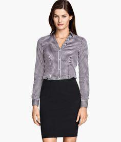 H&M Shirt In Stretch Fabric - Dark Blue & White