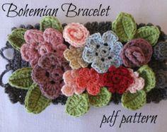 Bohemian Crochet Bracelet crocheted array of flowers